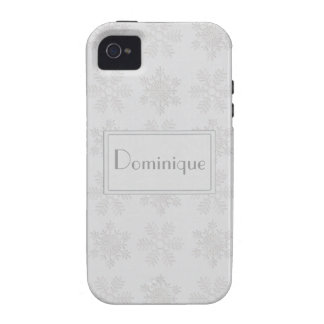 Frosty Silver Snowflakes Monogram Case For The iPhone 4