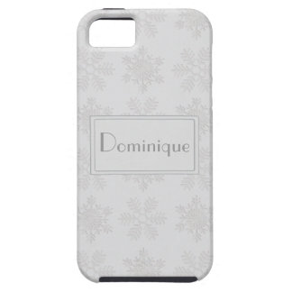 Frosty Silver Snowflakes Monogram iPhone SE/5/5s Case