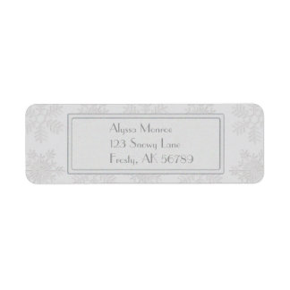 Frosty Silver Snowflakes Monogram Custom Return Address Labels