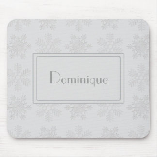 Frosty Silver Snowflakes Monogram Mouse Pad