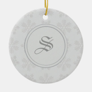Frosty Silver Snowflakes Monogram Ornaments