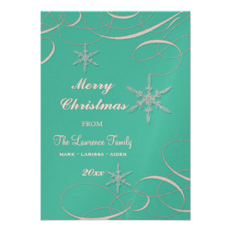 Frosty Snowflake Christmas Photo Greeting Cards Invites