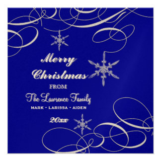 Frosty Snowflake Christmas Photo Greeting Cards Custom Announcement