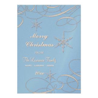 Frosty Snowflake Christmas Photo Greeting Cards Invitation