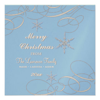 Frosty Snowflake Christmas Photo Greeting Cards Announcement