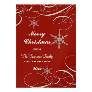 Frosty Snowflake Christmas Photo Greeting Cards Personalized Invite
