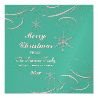 Frosty Snowflake Christmas Photo Greeting Cards Custom Invitations