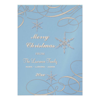 Frosty Snowflake Christmas Photo Greeting Cards Invitations