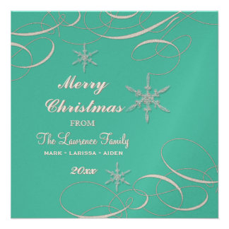 Frosty Snowflake Christmas Photo Greeting Cards Personalized Invites