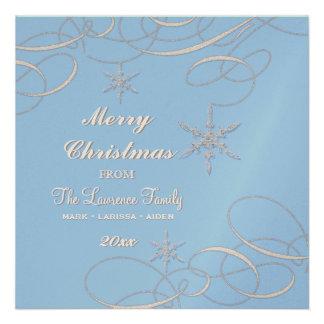 Frosty Snowflake Christmas Photo Greeting Cards Custom Invite