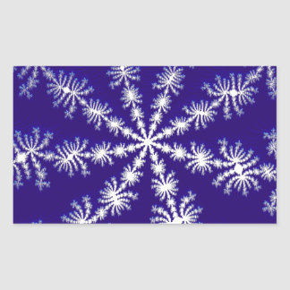 Frosty snowflake effect 3D fractal. Rectangular Stickers
