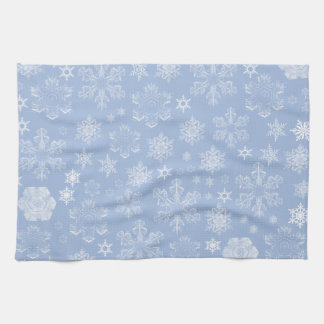Frosty Snowflakes (Snowfall) - Blue White Hand Towel