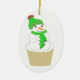 Frosty Snowman Cupcake Double-Sided Oval Ceramic Christmas Ornament