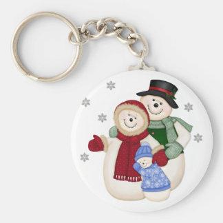 Frosty Snowman Family - Blue Keychain