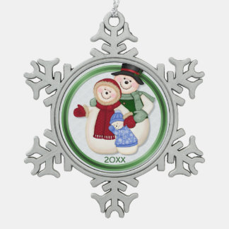 Frosty Snowman Family - Blue Snowflake Pewter Christmas Ornament