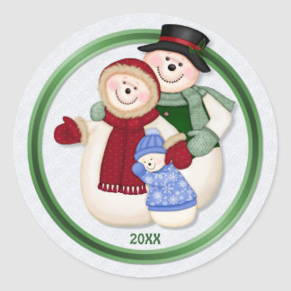 Frosty Snowman Family - Blue Round Stickers