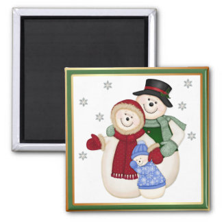 Frosty Snowman Family - Pink Magnet