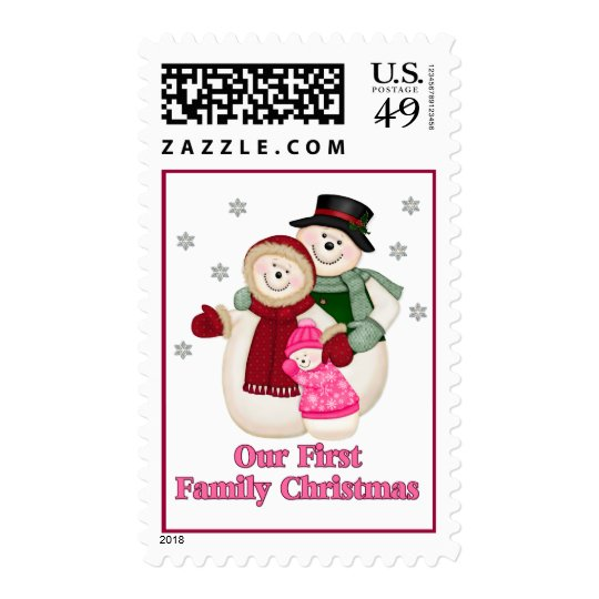 Frosty Snowman Family - Pink Postage