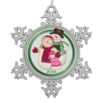Frosty Snowman Family - Pink Snowflake Pewter Christmas Ornament