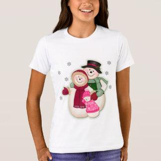 Frosty Snowman Family - Pink T-Shirt