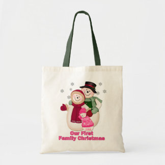 Frosty Snowman Family - Pink Tote Bag