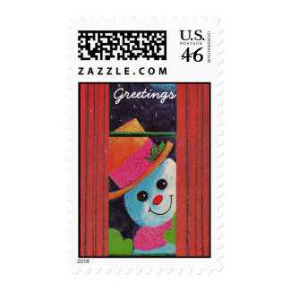 Frosty Snowman Greetings Postage Stamps