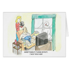 Frosty Snowman Hat on Bert Humorous Card at Zazzle