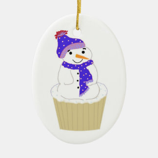 Frosty Snowman with Blue Accessories Double-Sided Oval Ceramic Christmas Ornament