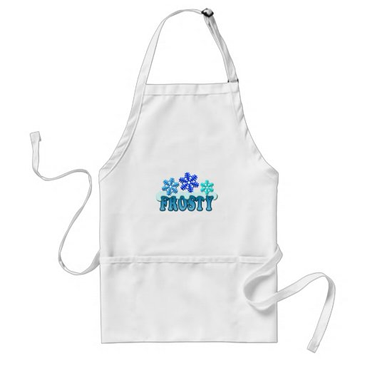 Frosty Text Snow Flakes Design Aprons