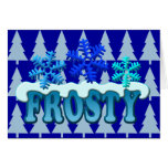 Frosty Text Snow Flakes Design Cards