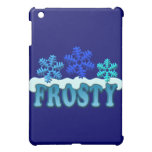 Frosty Text Snow Flakes Design iPad Mini Covers