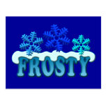 Frosty Text Snow Flakes Design Post Card