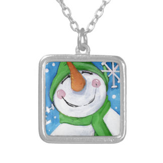Frosty the happy snowman silver plated necklace