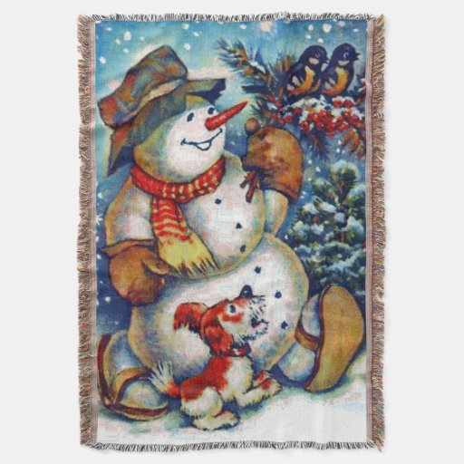 Frosty the snowman and Friends Christmas Throw Blanket