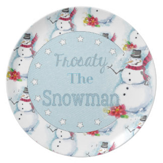Frosty The Snowman inspired plate