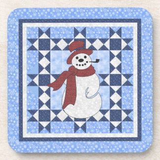 Frosty the Snowman Quilt Design Beverage Coaster