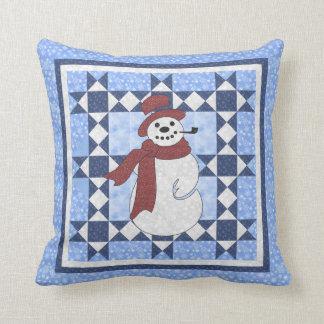 Frosty the Snowman Quilt Design Throw Pillow