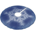 Frosty White on Blue Snowflake Brushed Polyester Tree Skirt