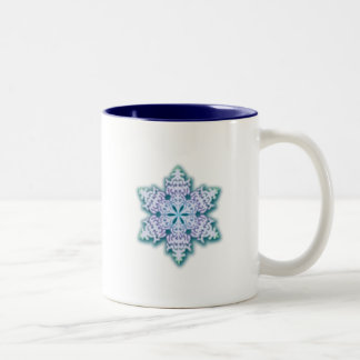 Frosty Winter Blue Christmas Snowflake Coffee Mug
