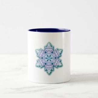 Frosty Winter Blue Christmas Snowflake Mug