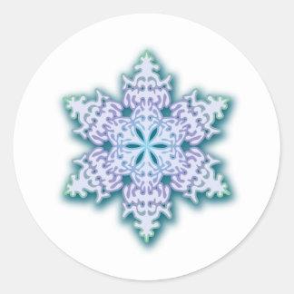 Frosty Winter Blue Christmas Snowflake Classic Round Sticker
