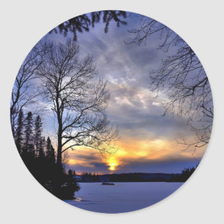 Frosty Winter Night Classic Round Sticker