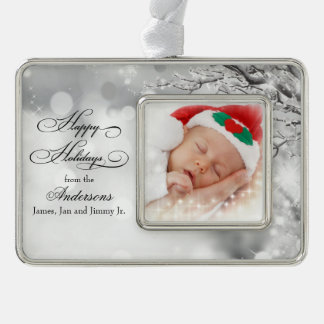 Frosty Winter Snow Personalized Photo Christmas Ornament