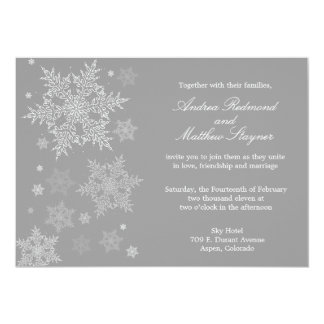 Frosty Winter Snowflake Wedding invitation Gray