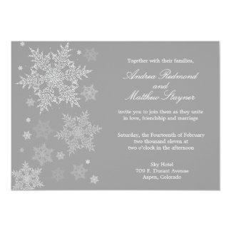 Frosty Winter Snowflake Wedding invitation Gray