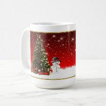 Frosty with Christmas Tree and Presents Mug