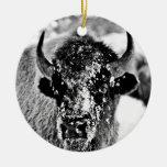 Frosty Yellowstone Bison Ceramic Ornament