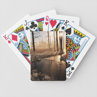 Frosty Yellowstone Morning Bicycle Playing Cards