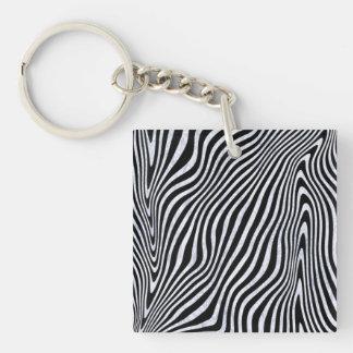 Frosty Zebra Stripes Keychain