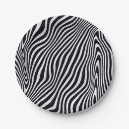 Frosty Zebra Stripes Paper Plate
